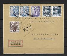 España.Carta circulada por correo Aéreo Certificado de Las Palmas a Madrid