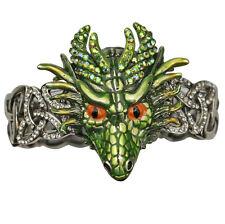 KIRKS FOLLY THOR DRAGON CELTIC KNOT STRETCH BRACELET -  silvertone