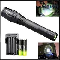 Zoomable X-XML T6 LA² 8000 LM Flashight 18650 5 Modes Torch Lamp+Charger A²