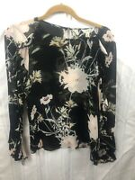 Lucky Brand Womens Floral Size Small Black/Pink Bell Long Sleeve Shirt