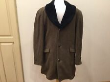 VTG McGregor Wool PeaCoat GREEN BROWN W Faux Fur Collar/liner GOLDEN-HI L 18 36