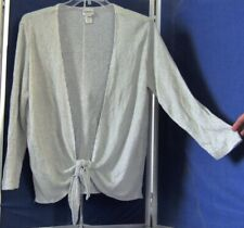 Gray & SILVER Metallic TIE Front TOP by CHICO'S Long Sl Sz 3 No Returns