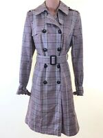 BNWOT NEXT plaid check tartan breasted trench mac coat with belt size 10 euro 38