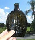 Fine 19th C. Antique Flask - Success To The Railroad - Open Pontil - Dark Amber