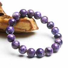 Natural Russian Purple Charoite Gemstone Round Bead Bracelet AAA 13mm