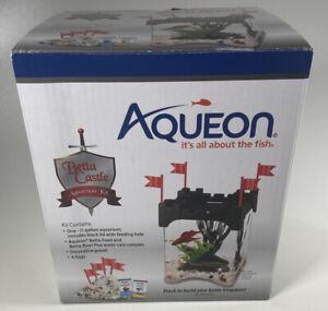 Aqueon Betta Fish Castle Kit 1/2 Gallon Black Aquarium Kit
