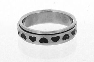 Stainless Steel Spinner Ring with Black Hearts in 8 Sizes R13