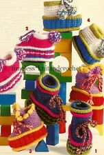 VINTAGE KNITTING PATTERN FOR ADORABLE BABY BOOTEES SHOES 6-12mths- 4 designs