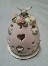 Porcelain Egg Candle Holder, Peace Doves, Dimensional, Heart Vents