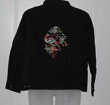 Yi Lin Embroidered Stretch Denim Jacket Size XS Black