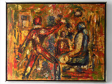 SIGNED GEORGE ABSTRACT FIGURATIVE EXPRESSIONISM PAINTING de KOONING EAMES ERA