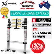 2m Telescopic Folding Ladder Alloy Aluminium Extension Steps Multipurpose