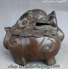 Collect Chinese Old Purple Bronze PiXiu Lion Head Statue Incense Burner Censer