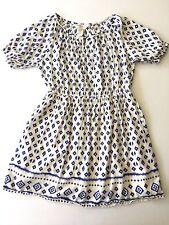 FOREVER 21 GIRLS 9 10 PRINT PEASANT DRESS BOHO CLASSIC SPRING SUMMER LINED BLUE