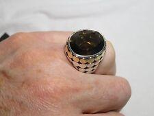 John Hardy Smoky Quartz Sterling Silver 18K Dot Large Bold Oval Ring
