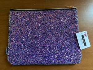 New Fashion Angels multi color sparkly sequin zipper pencil cosmetic case pouch