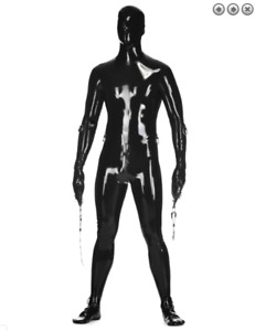 pure latex cosplay uniform overall catsuit fullbody cool sexy black 0.4mm s-xxl