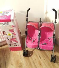 Mamas & Papas Doll's Pop Duo Pram - Pink & Grey. With box