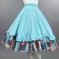 S/M Vintage 1950s Patio Skirt Western Full Circle Cotton Swing Square Dance 60s