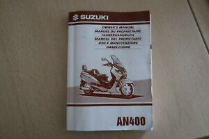 SUZUKI AN 400  Fahrerhandbuch Manuel Owners Manual 1998