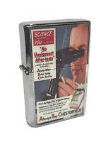 Scientist Endorsing Chesterfield Cigarettes Ad Flip Top Chrome Oil Lighter