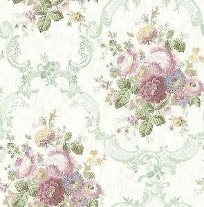 Dollhouse Miniature Shabby Chic Wallpaper Purple Green Roses Floral Flowers 1:12