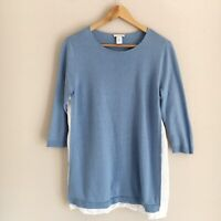 J. Jill Womens Size Small Blue & White Knit Linen Blend 3/4 Sleeves Pullover Top