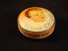 Ancienne boîte publicitaire tôle espagnole Vaselina CHUIQUI bébé enfant 1920/30