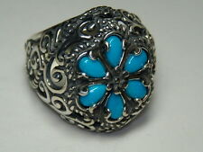STERLING SILVER CAROLYN POLLACK SLEEPING BEAUTY TURQUOISE FLOWER RING SIZE 9