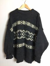 Pure New Wool Knit Vintage Jumper Oversized Sweater Mens Womens Patterned