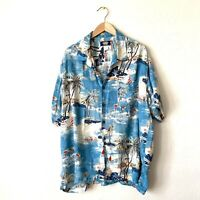 Uliity Men's Rayon Button Down Short Sleeve Surf  Hawaiian  Print Shirt. Sz XL