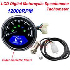 12000RPM Motorcycle Speedometer Tachometer Cafe Racer LCD Digital moto Odometer