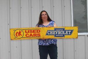 "Large Vintage Chevrolet OK Used Cars Chevy Dealership Gas Oil 48"" Metal Sign"