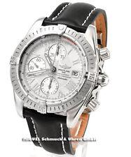 Breitling Armbanduhren mit Armband aus echtem Leder und Edelstahl