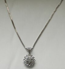 Antique Cushion Cut Diamond Daisy Pendant 18ct White Gold French Necklace