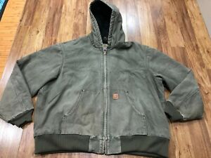 MENS 2XL - Carhartt J130 Sandstone Flannel Quilted Lined Hooded Jacket