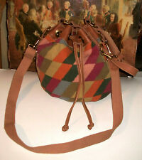 NWOT Fossil Long Live Vintage Leather-w-Textile Crossbody Bucket Shoulder Bag