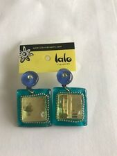 LALO Treasures Turquoise Color and Lime Green Square Shaped Earrings. NWT $24.99