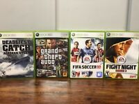Lot of 4 Xbox 360 Game - Deadliest Catch GTA IV FIFA Soccer 10 Fight Night Rd 3