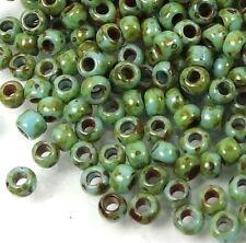 8/0 TOHO Fancy Hybrid Glass Round Seed Beads Opaque Cornflower Picasso 10g