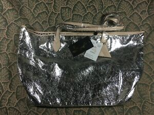 SORIAL New York Vegan Silver Leather Expandable Shoulder Tote Bag Retail $110.00