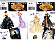 """Simplicity 5709 & 5713 15 1/2"""" Doll Couturier Dress Pattern Vintage Uncut"""