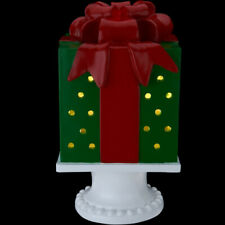 "Kringle Express 10"" Illuminated Pierced Holiday Present on Pedestal"