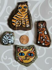 Hand Painted River Rock Stone Whimsical ORIGINAL Folk Art Kitty Cat Tabby Calico