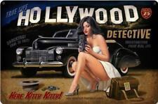 Hollywood Detective Pin Up Metal Sign Greg Hildebrandt