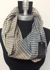 Men's Fashion Infinity Scarf 2-Circle Cowl Wrap Soft Striped Beige/Brown/Blue