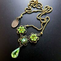 Michal Negrin Necklace Chain Green Swarovsky crystals vintage
