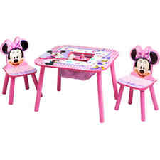 Disney Minnie Mouse Storage Table and Chairs Set Kids Children Girls Room Pink
