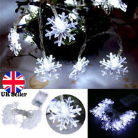Snowflake LED String Fairy Lights Battery Christmas Wedding Party Decor White UK