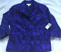New $130 Coldwater Creek Womens Blue Floral Jacket 3/4 Sleeve Size 10 Petite